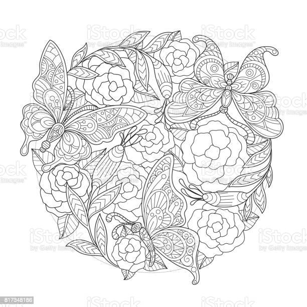 Hand drawn butterfly and rose background for adult coloring page vector id817348186?b=1&k=6&m=817348186&s=612x612&h=tfrrfljxfyuh6zeknkvdr4slrvz4gmxh4th160z2qa8=