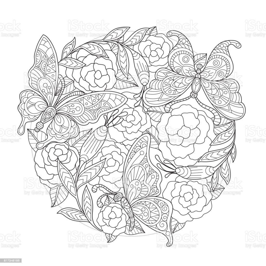 Hand dras fjäril och ros bakgrund för vuxen målarbok. vektorkonstillustration