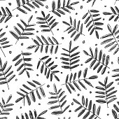 Single little twigs with tiny leaves. Spontaneous hand drawn illustration on white paper sheet made by soft pencil. Seamless pattern design. Great material of cards or textile pattern. Zoom to see the details. Vector illustration - enlarge or duplicate picture vertically and horizontally to get unlimited area!