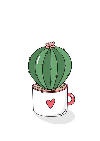 Hand drawn cactus in garden pottery. Vector.
