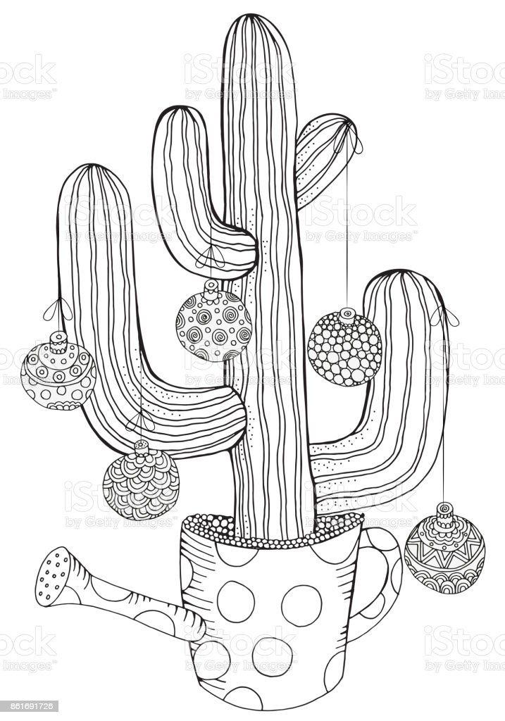 Hand drawn cactus in pot with christmas balls doodle black for Christmas cactus coloring page