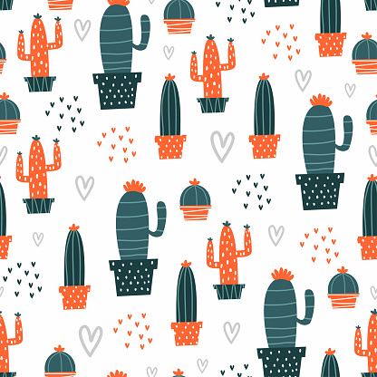 Hand drawn cactus pattern with cute colors. Vector seamless background. Ready for printing on textile and other seamless design.