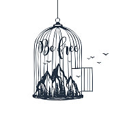 """Hand drawn cage with mountains textured vector illustration and """"Be free"""" inspirational lettering."""