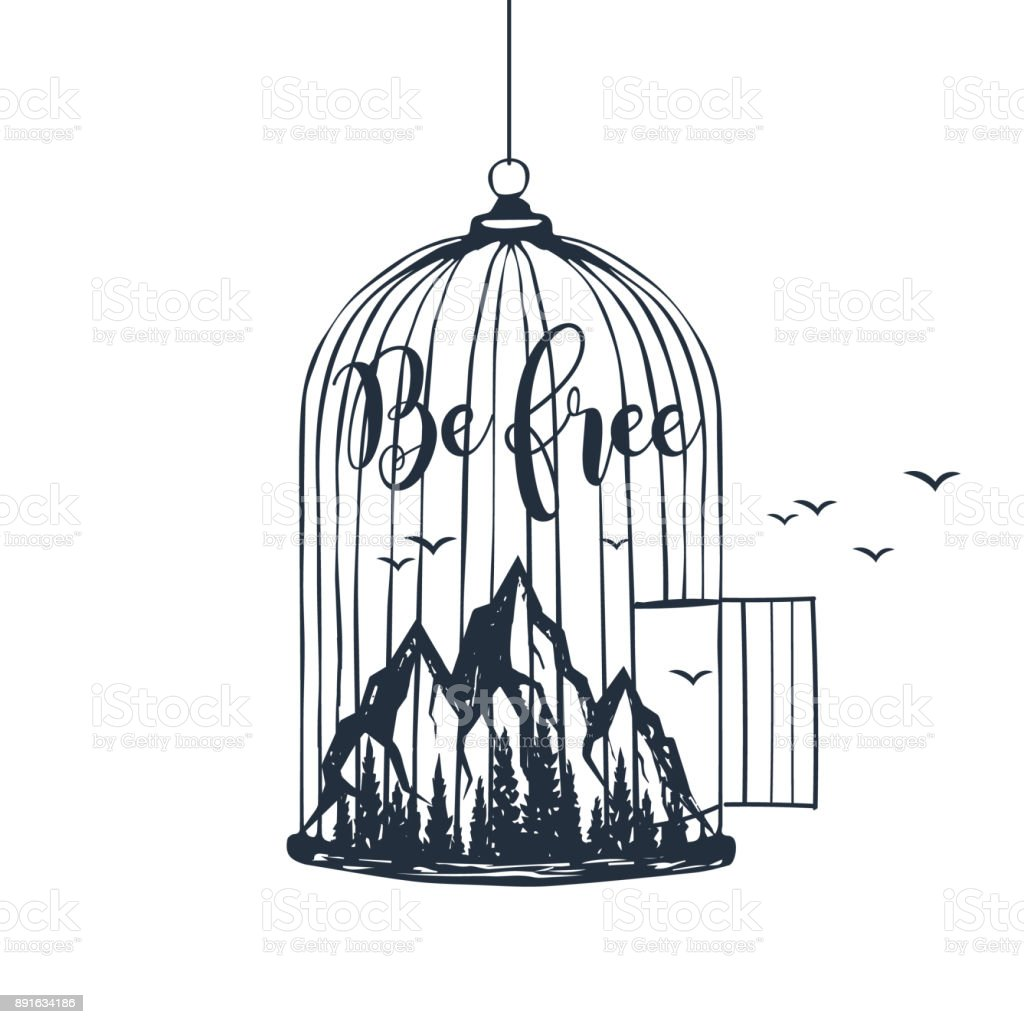 Hand drawn cage with mountains vector illustration. vector art illustration