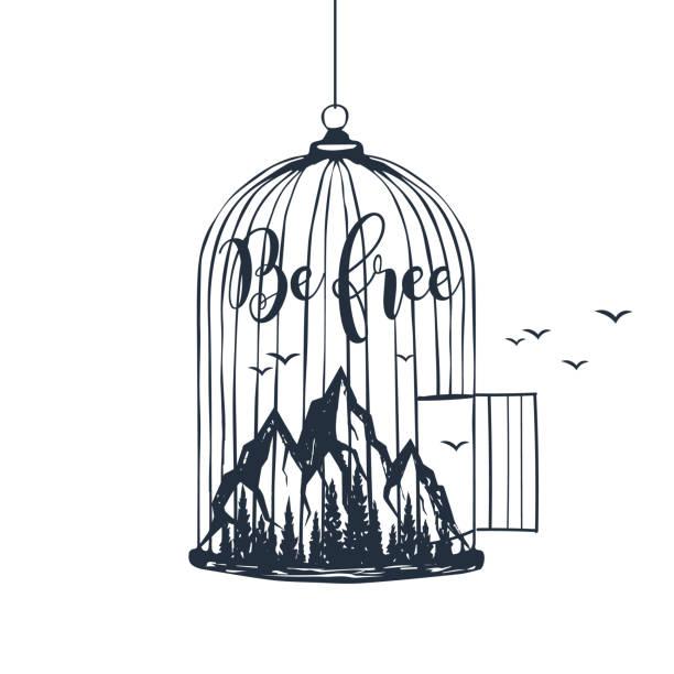 illustrations, cliparts, dessins animés et icônes de la main cage dessiné avec monts vector illustration. - dessin cage a oiseaux