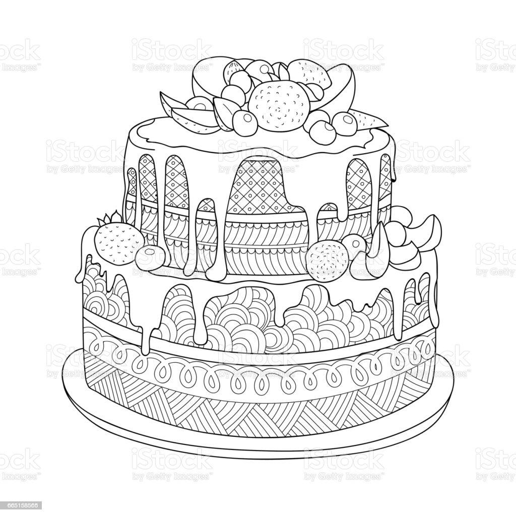 Hand Gezeichnet Kuchen Fur Malbuch Stock Vektor Art Und Mehr Bilder