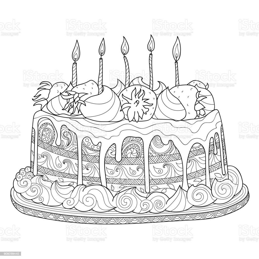 Hand Drawn Cake For Coloring Book Stock Vector Art & More Images of ...