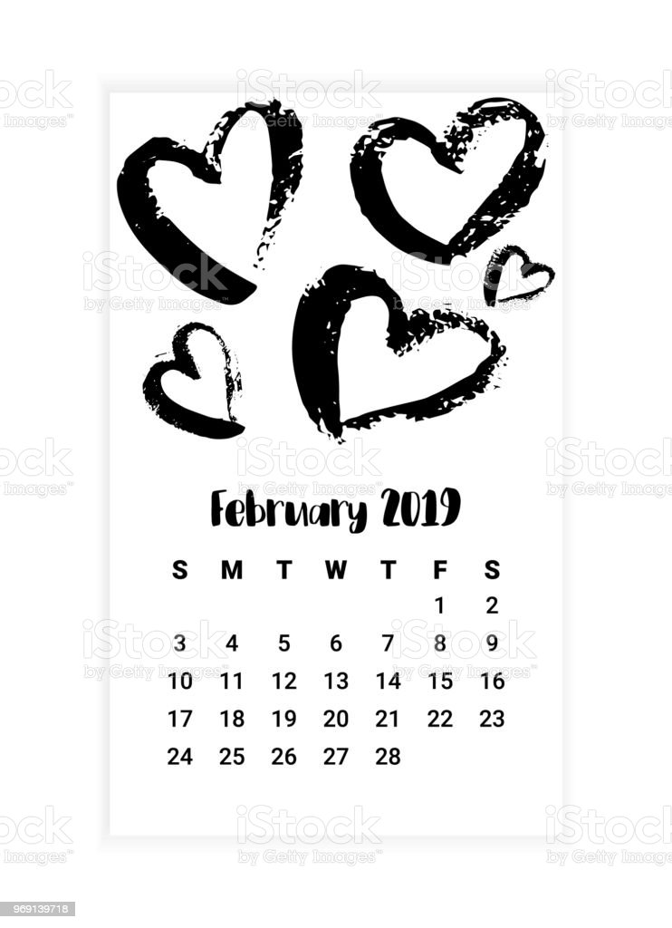 Calendario 2019 Mes A Mes.Hand Drawn Calendar 2019 February Month Concept Design Vector
