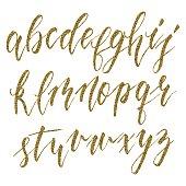 Hand drawn calligraphic alphabet