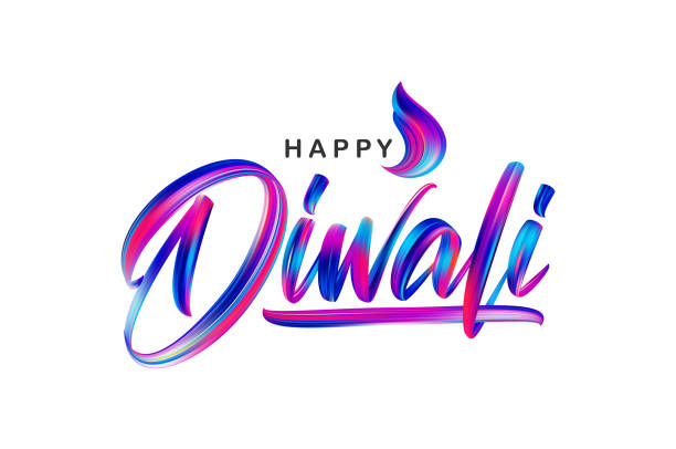 hand drawn calligraphic brush stroke colorful paint lettering of happy diwali - diwali stock illustrations