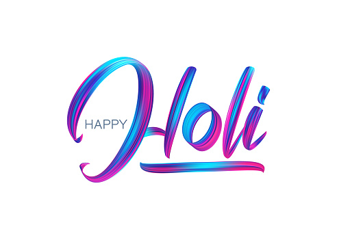 Hand drawn calligraphic brush stroke colorful paint lettering of Happy Holi