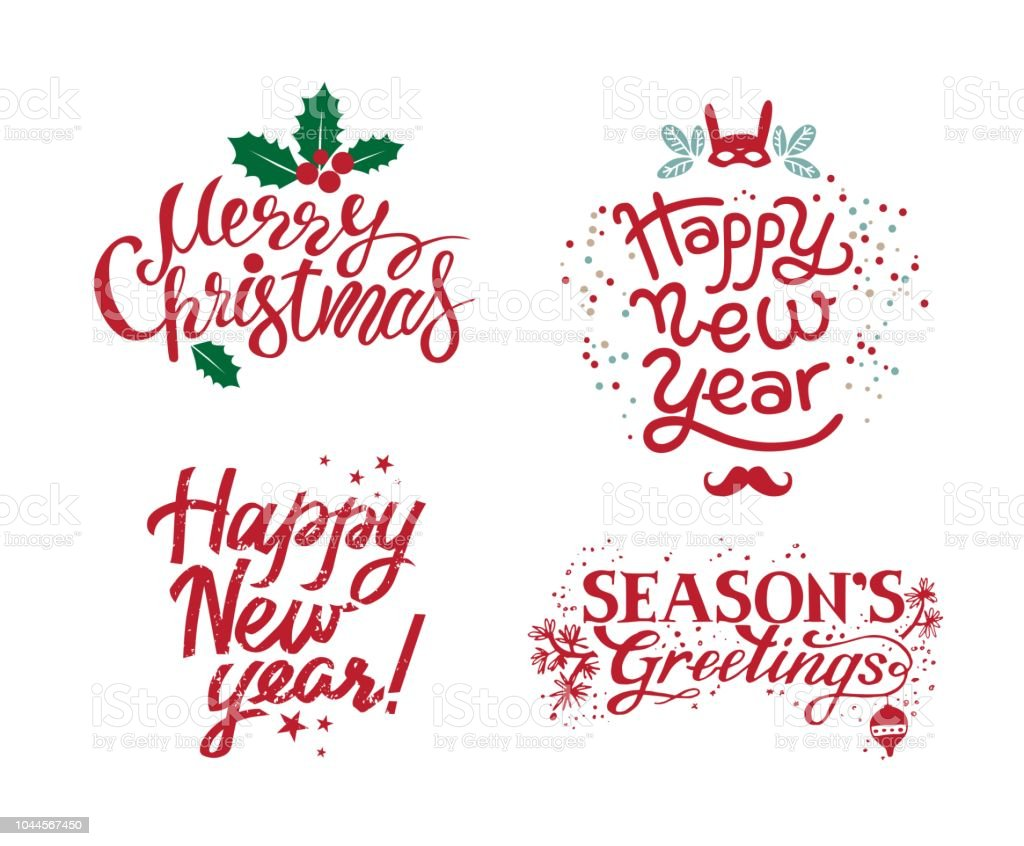 hand drawn calligraphic set for merry christmas seasons greetings happy new year royalty