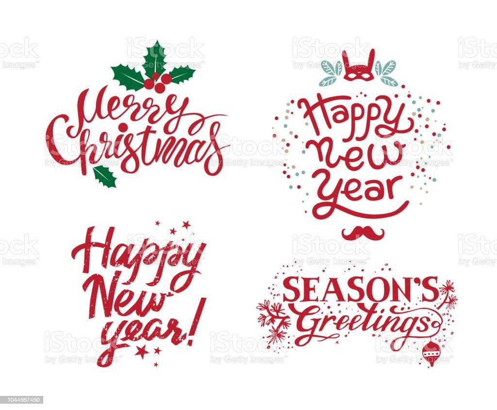 Hand Drawn Calligraphic Set For Merry Christmas Seasons Greetings ...