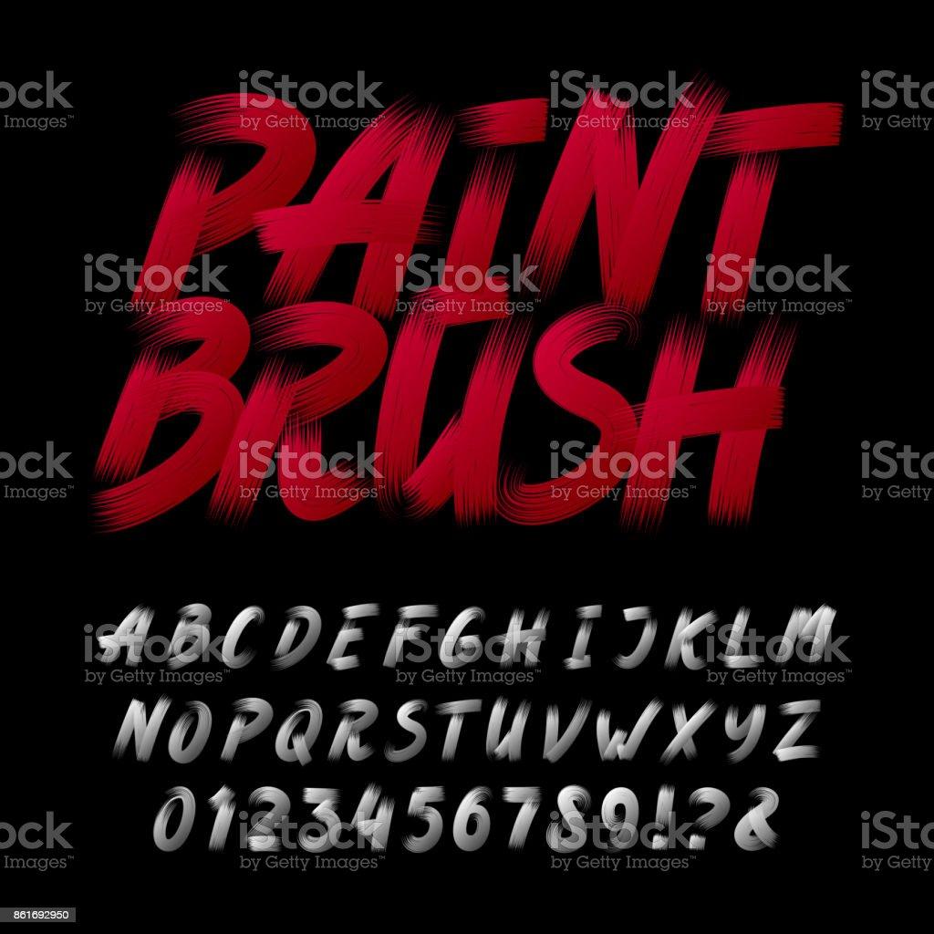 手描き下ろし書道ブラシ ストローク アルファベット。文字と数字。 ベクターアートイラスト