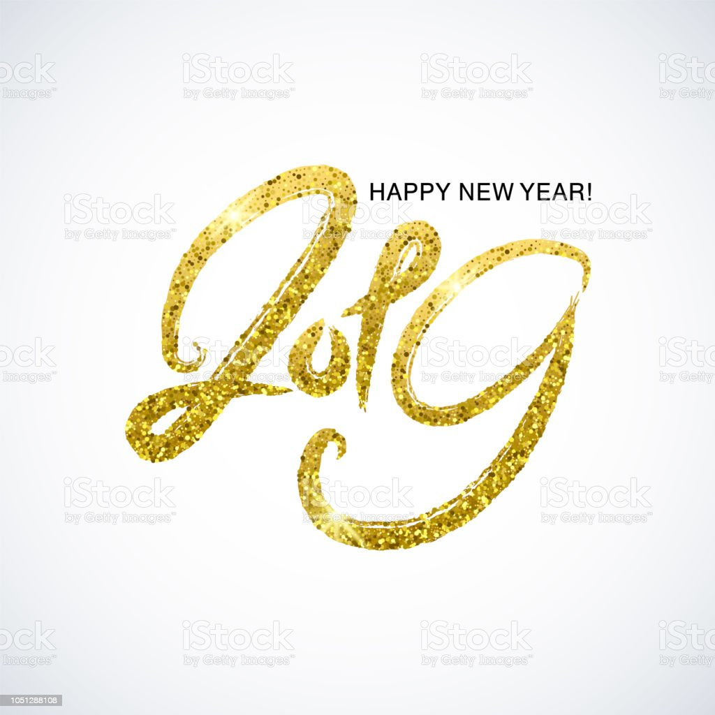 happy new year card golden glitter numbers isolated on a