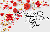 Hand drawn calligraphy lettering Happy Valentine Day. Color gift box, bows and ribbons. Vector illustration