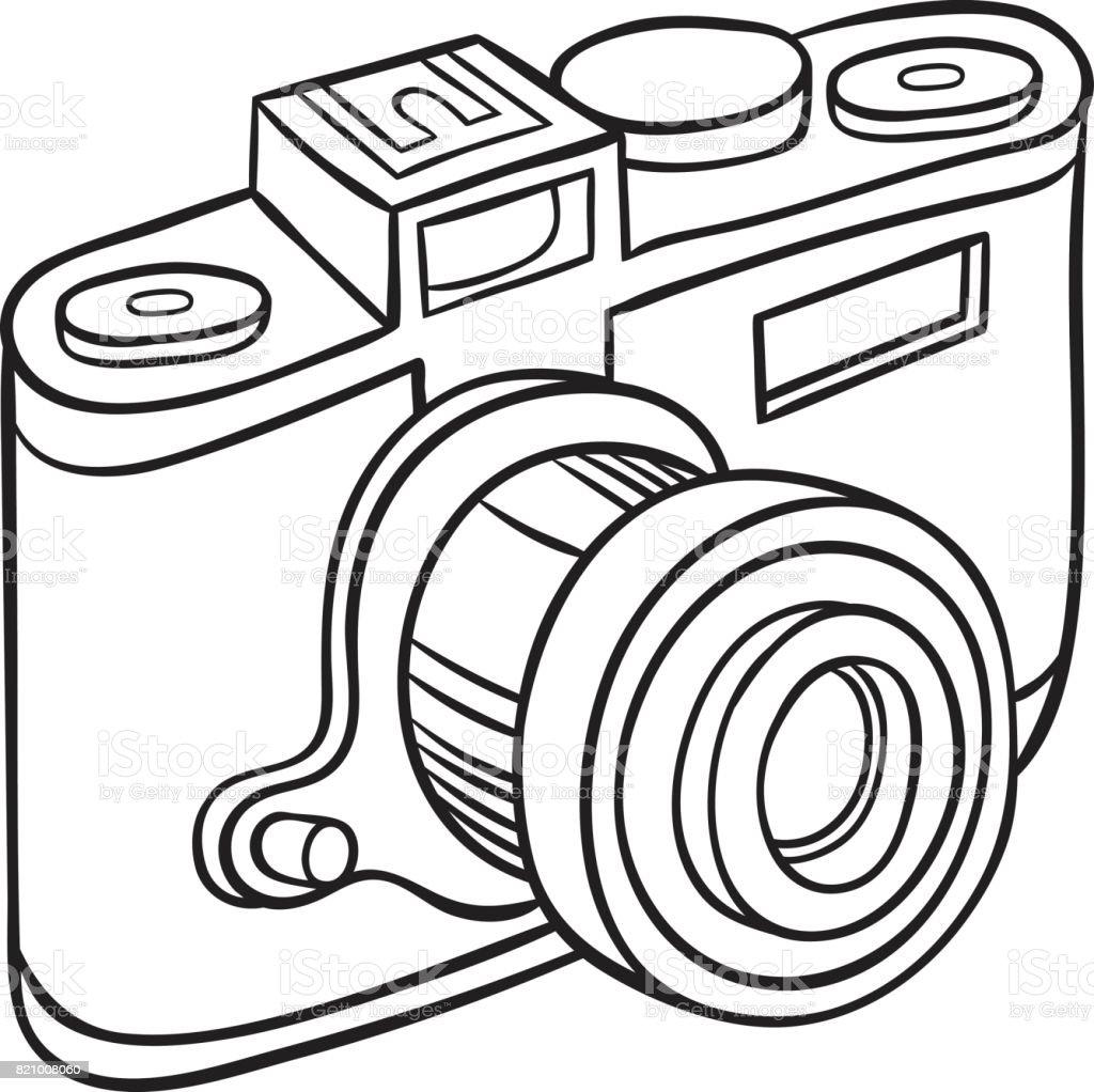 Hand Drawn Camera Stock Vector Art More Images Of Cartoon