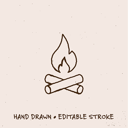 Hand Drawn Camp Fire Line Icon with Editable Stroke