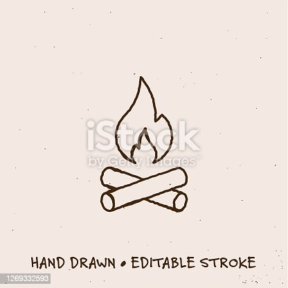 istock Hand Drawn Camp Fire Line Icon with Editable Stroke 1269332593