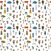 Hand drawn camping and hiking seamless pattern. Doodle camping elements on white background. Picnic, hiking, travel and camping. Vector illustration