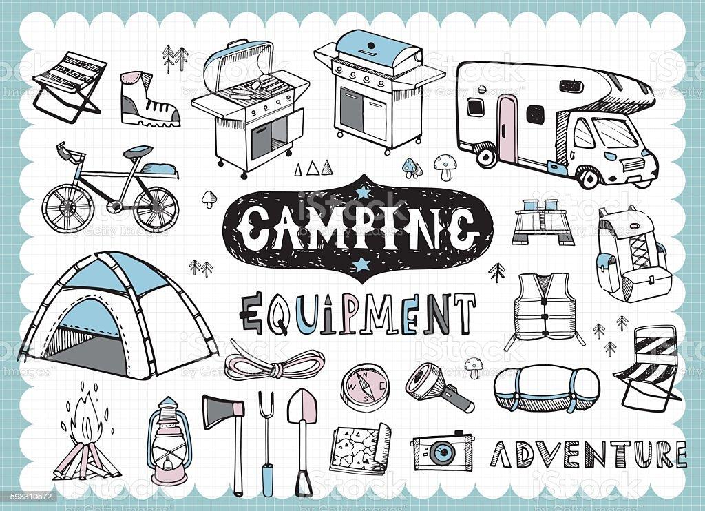 Hand drawn camping equipments B vector art illustration