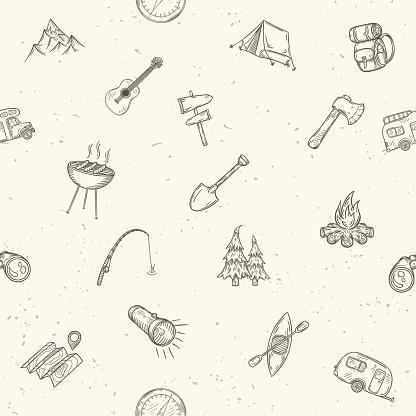 Hand drawn camping seamless pattern.