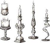 Set of hand drawn candles. Retro candlesticks. Vector illustration.