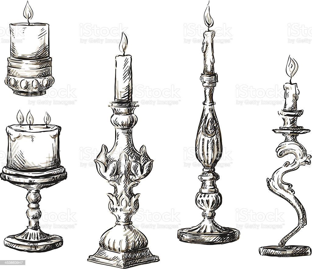 Hand drawn candles. Retro candlesticks. vector art illustration