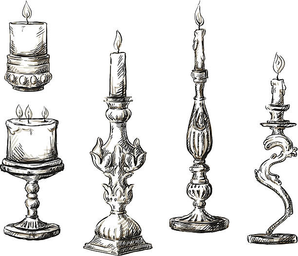 Hand drawn candles. Retro candlesticks. Set of hand drawn candles. Retro candlesticks. Vector illustration. candlestick holder stock illustrations
