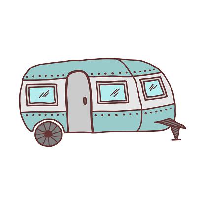 Hand drawn caravan trailer, sketch colored vector illustration