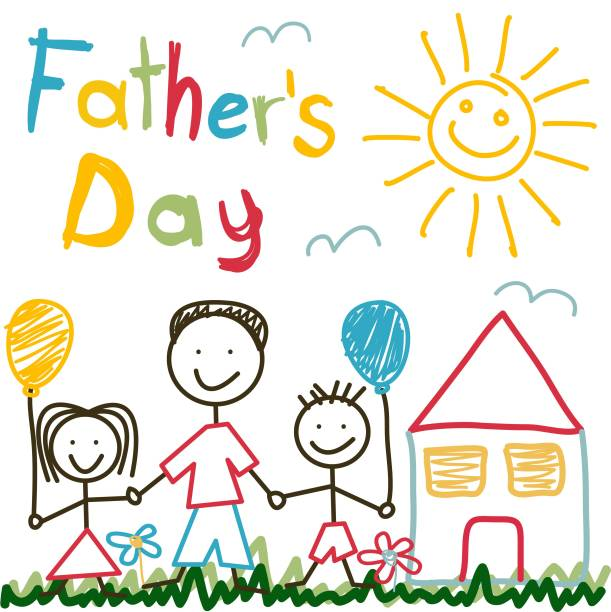 hand drawn card for father's day - fathers day stock illustrations, clip art, cartoons, & icons