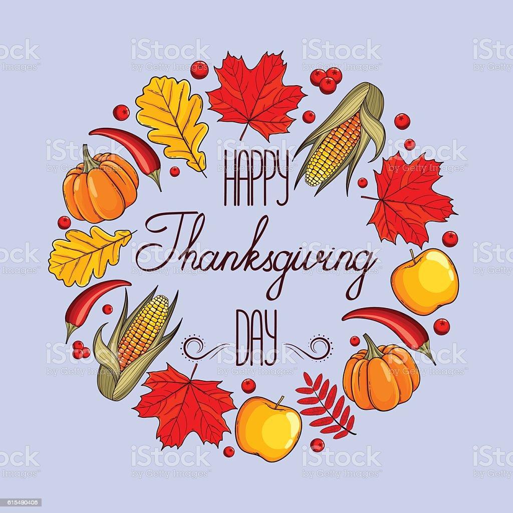 Hand drawn card Thanksgiving Day vector art illustration