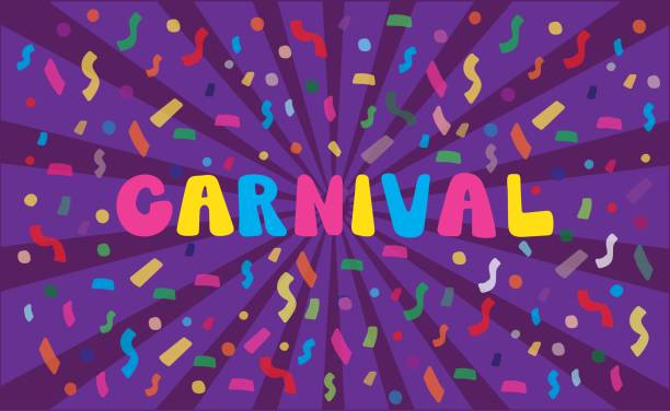 Hand drawn Carnival on violet background with confetti and rays. vector art illustration