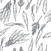 istock Hand drawn carrot .  Vector  pattern. 1256457372