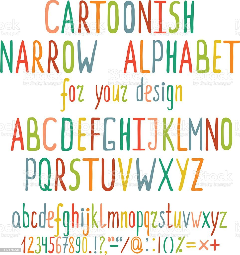 Hand Drawn Cartoon Alphabet Letters vector art illustration