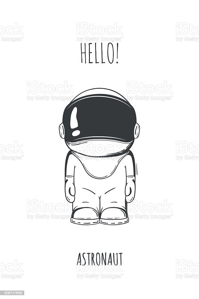 Ilustración de Dibujos Animados Mano Dibujado Traje De Astronauta ...