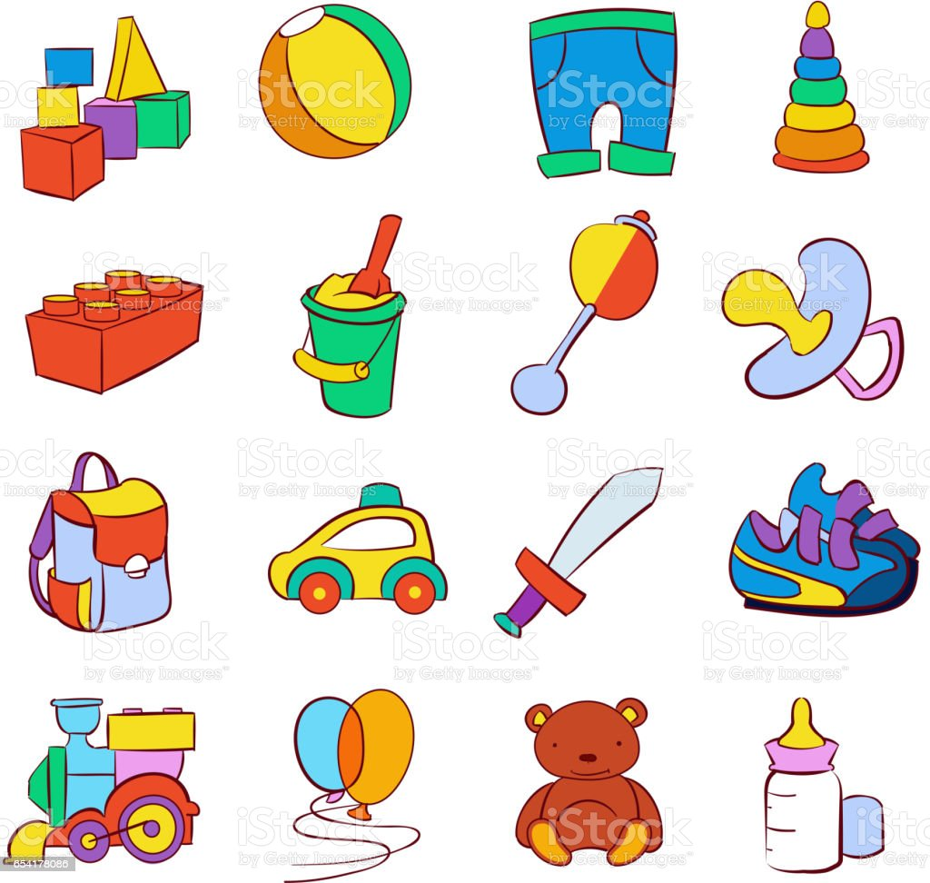 Cartoon Baby Toys : Hand drawn cartoon baby toys vector set stock art