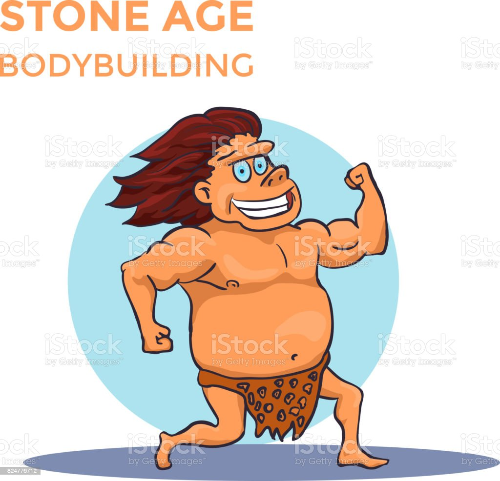 Hand Drawn Cartoon Cave Man Shows His Biceps. Vector vector art illustration