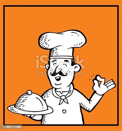 istock Hand drawn cartoon chef 1198272460