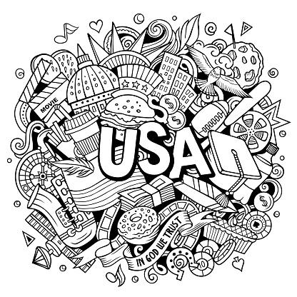 USA hand drawn cartoon doodle illustration.