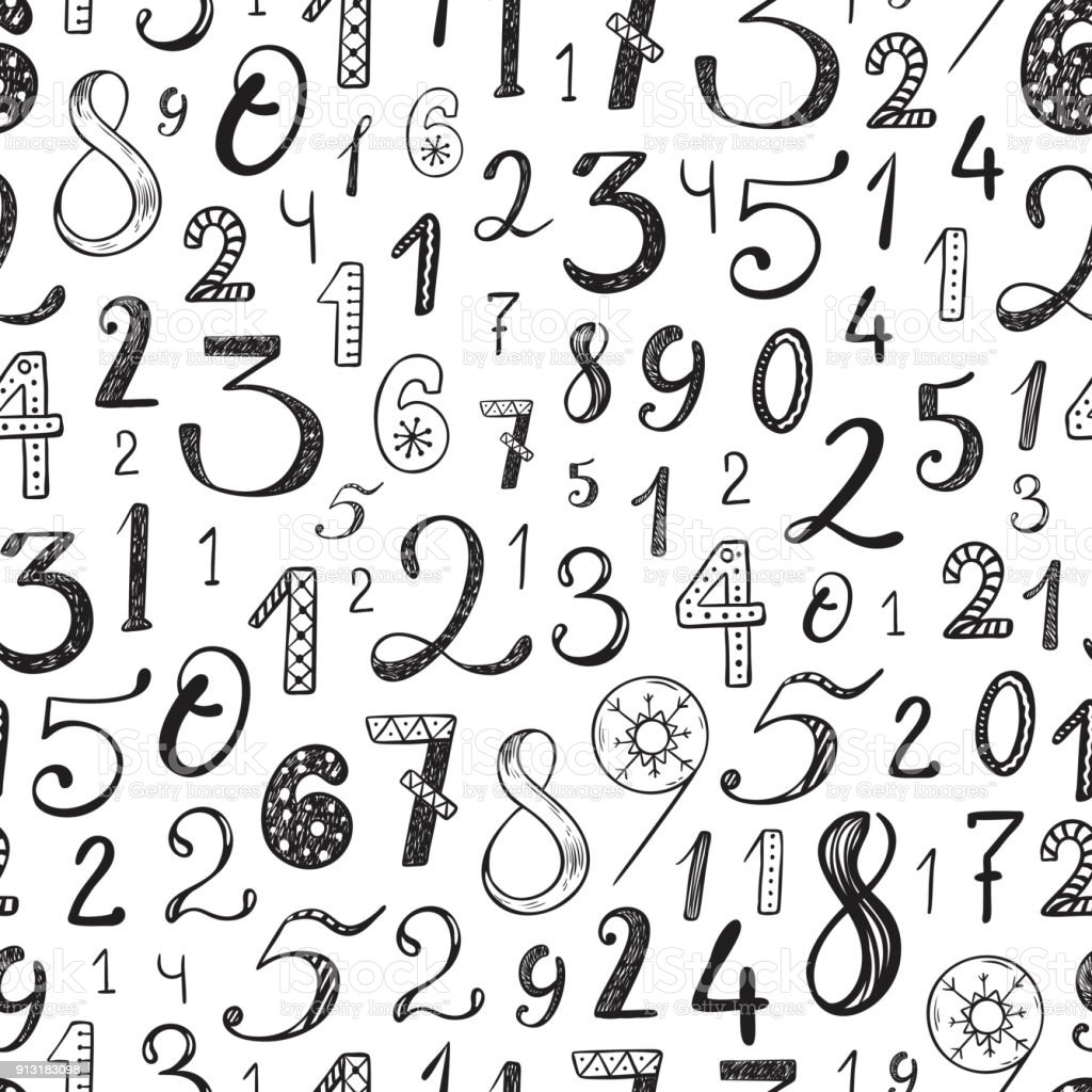 Hand Drawn Cartoon Doodle Numbers Seamless Pattern Mathematical Background For Kids Back To School
