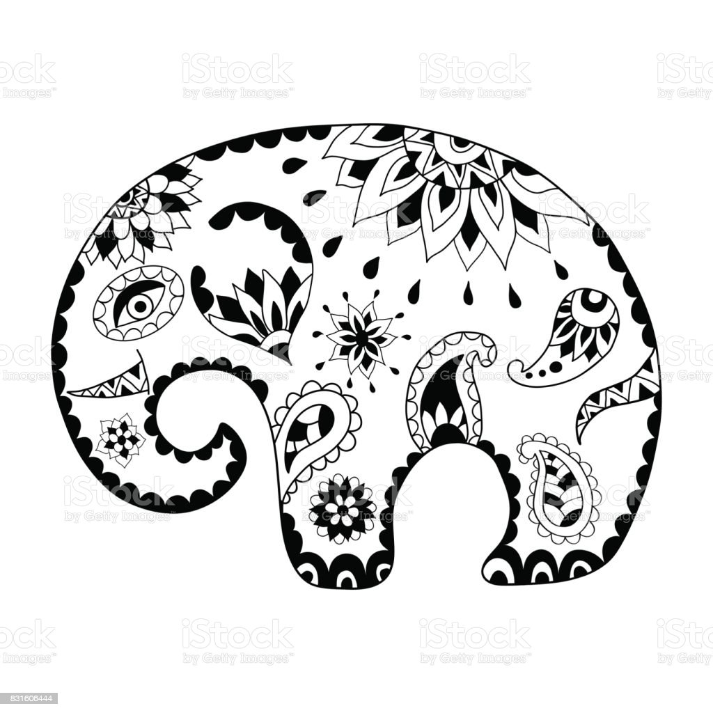 Hand Drawn Cartoon Elephant For Adult Anti Stress Colouring Page Pattern Coloring Book
