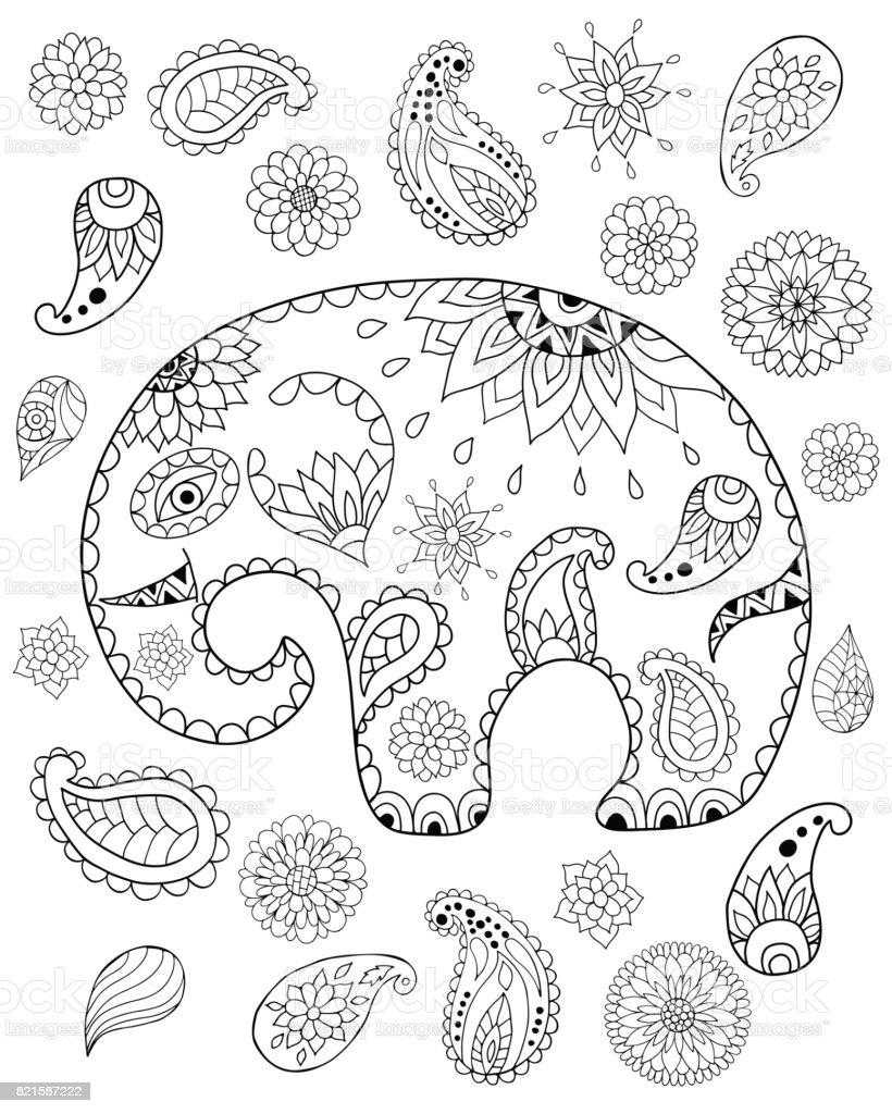 El çizilen çizgi Film Fil Mandalalar Paisleys çiçek Ve Yaprak