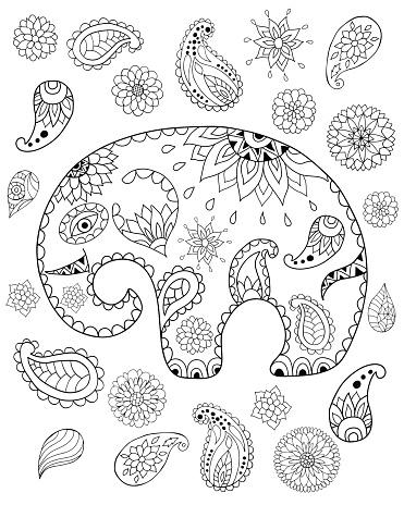 Hand Drawn Cartoon Elephant Mandalas Paisleys Flowers And Leaves