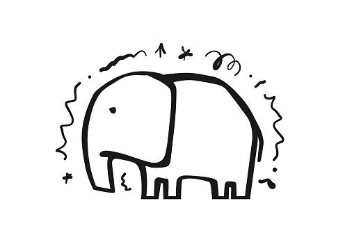 Hand drawn cartoon elephant. Sketch line design.