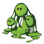 Hand drawn cartoon - green slime monster. Vector illustration