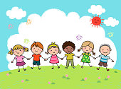 Hand drawn cartoon kids holding hands together outdoor