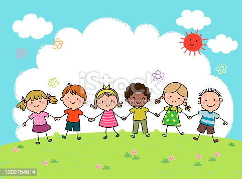 istock Hand drawn cartoon kids holding hands together outdoor 1202754514