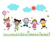 istock Hand drawn cartoon kids jumping together outdoor. 1202754535