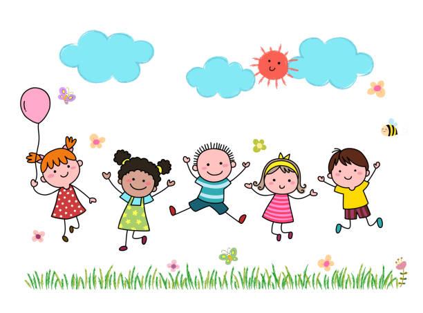 ilustrações, clipart, desenhos animados e ícones de crianças de desenho animado desenhadas à mão pulando juntas ao ar livre. - dia das crianças